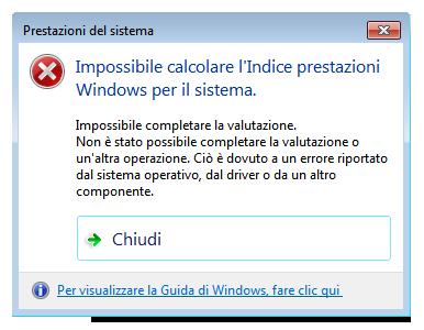 trucchi windows 03 indice prestazioni Impossibile calcolare lindice prestazioni windows
